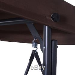 Converting Outdoor Swing Canopy Hammock 3 Seats Patio Deck Furniture Brown