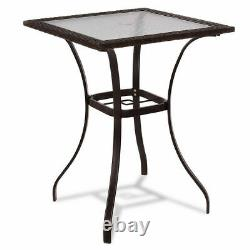Costway Outdoor Patio Rattan Wicker Bar Square Table Glass Top Yard Furniture