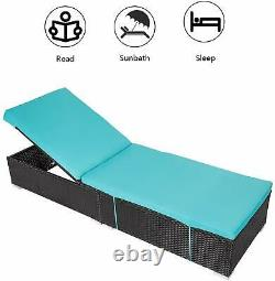 Cushioned Chaise Lounge Set Outdoor Recliner Furniture Rattan Wicker Patio Pool