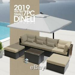 DINELI7pcSMALL Outdoor Patio Furniture Sectional Rattan Wicker Sofa Chair Set LB