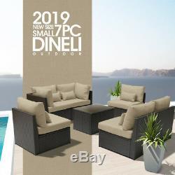 DINELI S 7pc Rattan Wicker Sofa Set Sectional Furniture Patio Outdoor LightBeige