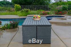 Dalia 9 Piece Dining Set Outdoor Patio Furniture Wicker Rattan Resin