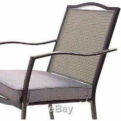Dining Chairs 6 Set Burlap Kitchen Furniture Patio Outdoor Chairs Cushioned Seat