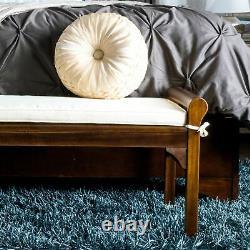 Dixon Rustic Acacia Wood Bench with Cushion