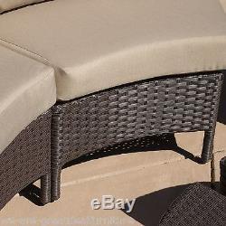 Elegant Outdoor Patio Furniture 10pc Dark Brown PE Wicker Sofa Sectional