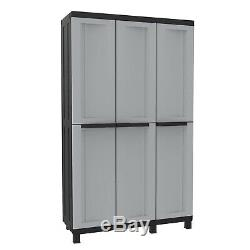 Extra Large Garden Outdoor Cupboard Patio Storage Unit Shed Box 3 Door Lockable