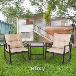 FDW Wicker Patio Furniture Sets Outdoor Bistro Rocking Chair 3 Piece Set Black