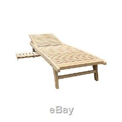 Foldable Wooden Chaise Lounge Recliner Outdoor/Indoor Chair Patio Lawn Furniture