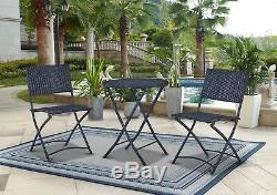 Folding Bistro Table Chair Set Outdoor Garden Furniture Wicker Rattan Patio