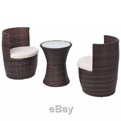 Garden Balcony Patio Bistro Set Rattan Wicker Table & Chairs Outdoor Furniture