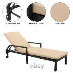 Garden Rattan Wicker Chaise Lounge Chair Patio Sun Bed Outdoor Porch Furniture
