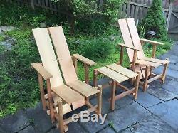 Gerrit Rietveld Inspired Cedar Outdoor Patio Deck Chair Mid Century Modern