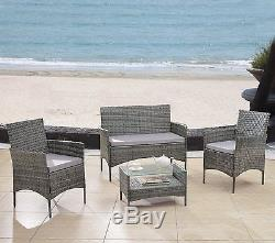 Grey Modern Outdoor 4 Piece Patio Rattan Furniture Set