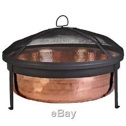 HAMMERED COPPER FIRE PIT Grill Set with Cover Outdoor BBQ Patio Furniture Firepit