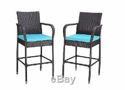HTTH 2 Pcs Patio Bar Stools Bistro Sets Outdoor Furniture Chairs with Cushions