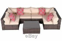 HTTH 7PC Outdoor Sectional Patio Furniture Sofa Set Rattan with Table Cushions