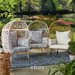 Indoor Outdoor Egg Style Chair Rattan Wicker Furniture Kids Reading Cushion Seat