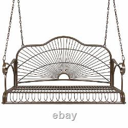 Iron Patio Hanging Porch Swing Chair Bench Seat Outdoor Furniture