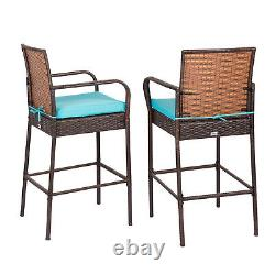 Kinbor 2 PCS Bar Stool Wicker Rattan High Chiar Outdoor Patio Furniture Set Blue