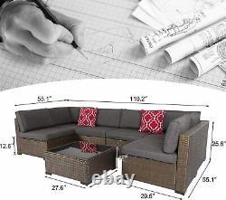 Kinbor 7PCS Outdoor Patio Sofa Set PE Rattan Wicker Sectional Furniture Couch