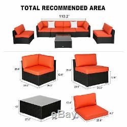 Kinbor 7 PC Patio Rattan Wicker Sofa Set Cushioned Sectional Garden Outdoor