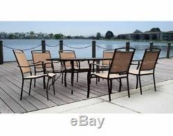 Large Outdoor Patio Dining Set Table 6 Chairs Furniture Rectangular Long Metal