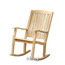 Large Solid Teak Rocking Chair Outdoor Porch Garden Patio Wood Rocker Furniture