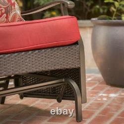 Loveseat Glider Bench 2 Seat Red Steel Frame Finish Outdoor Patio Furniture