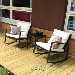 MOOSN 3PC Wicker Rocking Chair Bistro Set Glass Table Patio Outdoor Furniture
