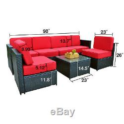 Mcombo Outdoor Patio Black Wicker Furniture Sectional Set 6085-S1007