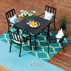 Metal Patio Chair Set of 2 Stackable Bistro Deck Dining Chairs Outdoor Furniture