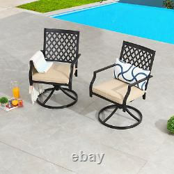 Metal Patio Chair Set of 2 With Cushion Swivel Dining Chairs Outdoor Furniture