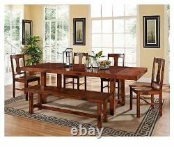 Modern Farmhouse Dining Table Country Kitchen Rustic Furniture Nook Trestle Wood