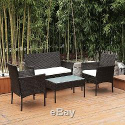New 4Pcs Patio Sofa End Table Outdoor Furniture Garden Rattan Sectional Set Home