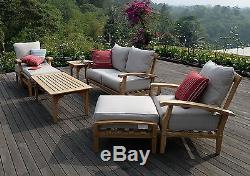 New 7 Piece Teak Wood Outdoor Patio Seating Set Garden Furniture Beige Cushions