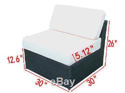New 9PC Deluxe Outdoor Garden Patio Rattan Wicker Furniture Sectional Sofa 6089