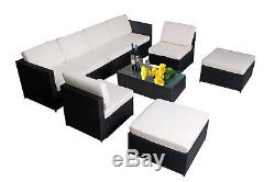 New 9 PC Cozy Outdoor Garden Patio Rattan Wicker Furniture Sectional Sofa