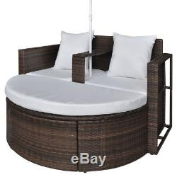 New Cushioned Rattan Patio Set Outdoor Furniture Garden Backgard Lounge Parasol