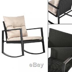 New Outdoor 3PC Rattan Patio Furniture Sets Rocking Wicker Bistro Set For Yard