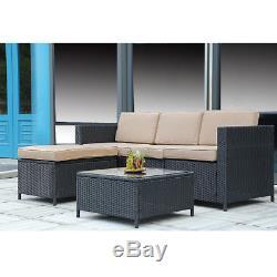 New Outdoor Patio Furniture 5pc Rattan Wicker Sofa Conversation Garden Sets