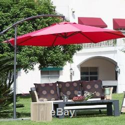 Offset Patio Umbrella Red Outdoor Furniture Cantilever Large Tilt Sun Shade Yard