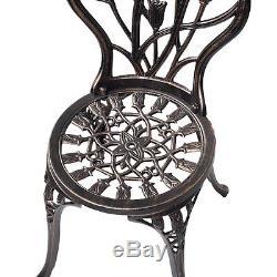 Outdoor 3PC Cast Aluminum Patio Furniture Tulip Design Bistro Set Antique Copper