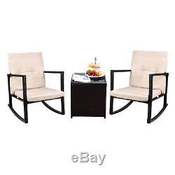 Outdoor 3 PC Rocking Chair Rattan Wicker Set Patio Furniture Garden Yard Bistro