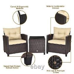 Outdoor 3 Pieces Wicker Cushioned Conversation Set Patio Rattan Furniture