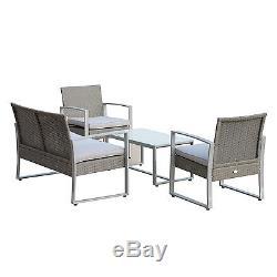 Outdoor 4PC Wicker Sofa Set Cushioned Patio PE Rattan Furniture Table Chair