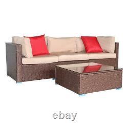 Outdoor 4 PCS Brown Wicker Cushioned Rattan Patio Set Lawn Sofa Furniture