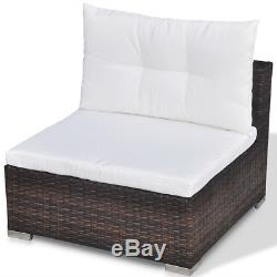 Outdoor 5PC Furniture Sectional PE Wicker Patio Rattan Sofa Set Couch Brown