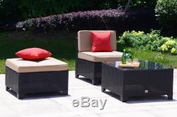 Outdoor 5 PC Patio Furniture Rattan Wicker Sofa Set Sectional Garden Deck Couch