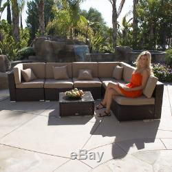 Outdoor 7PC Aluminum Furniture Sectional PE Wicker Patio Rattan Sofa Couch Brown