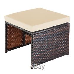 Outdoor 9pc Rattan Wicker Sofa Dining Table Chair Patio Garden Furniture Set US